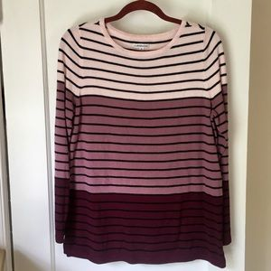 Purple white striped sweater size M